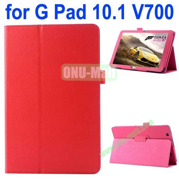 Litchi Texture Flip Stand Leather Case for LG G Pad 10.1 V700 (Red)