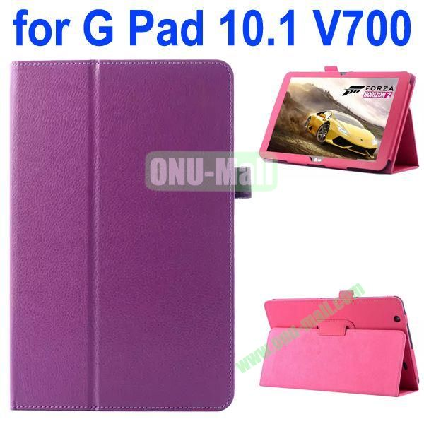 Litchi Texture Flip Stand Leather Case for LG G Pad 10.1 V700 (Purple)