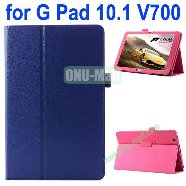 Litchi Texture Flip Stand Leather Case for LG G Pad 10.1 V700 (Dark Blue)