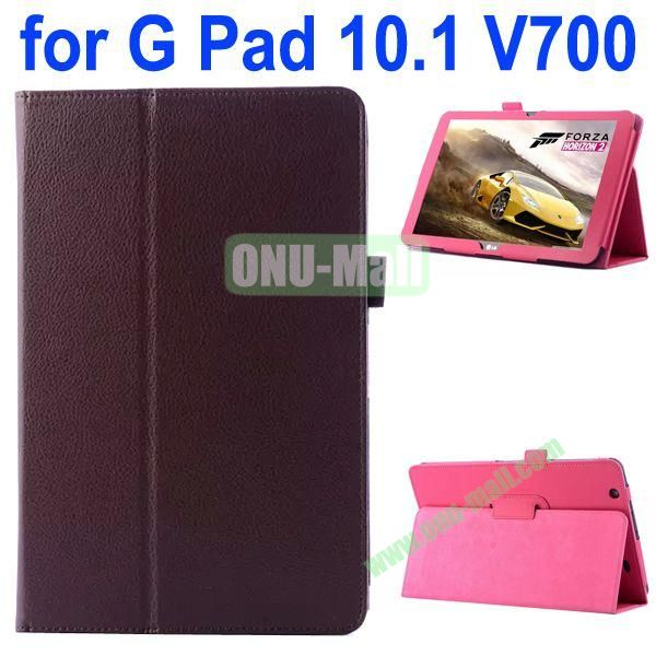 Litchi Texture Flip Stand Leather Case for LG G Pad 10.1 V700 (Brown)