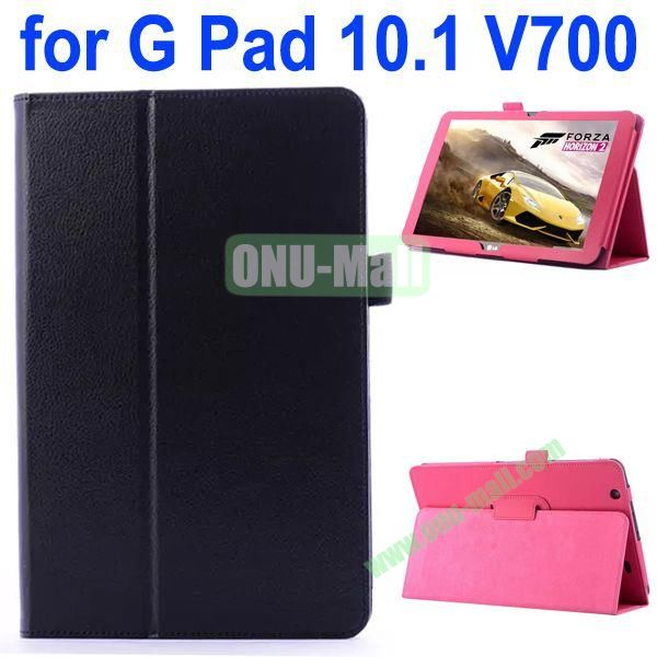 Litchi Texture Flip Stand Leather Case for LG G Pad 10.1 V700 (Black)