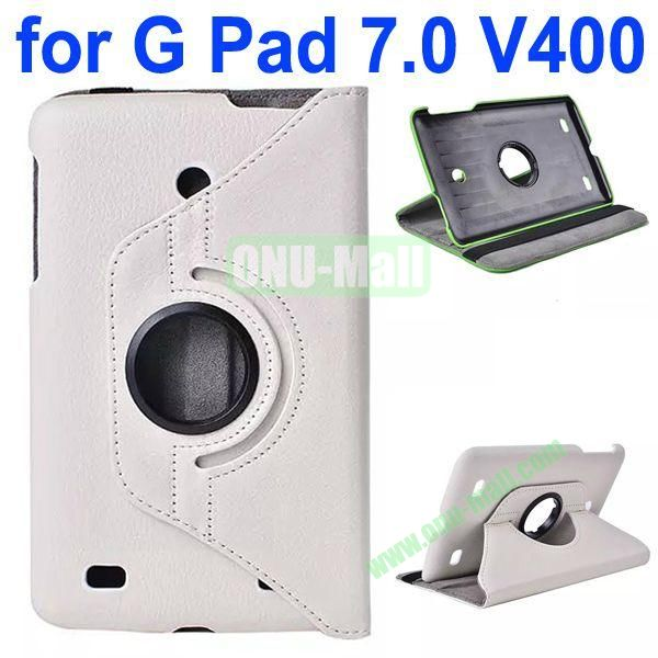 360 Degree Rotating Litchi Texture Flip Stand Leather Case for LG G Pad 7.0 V400 (White)