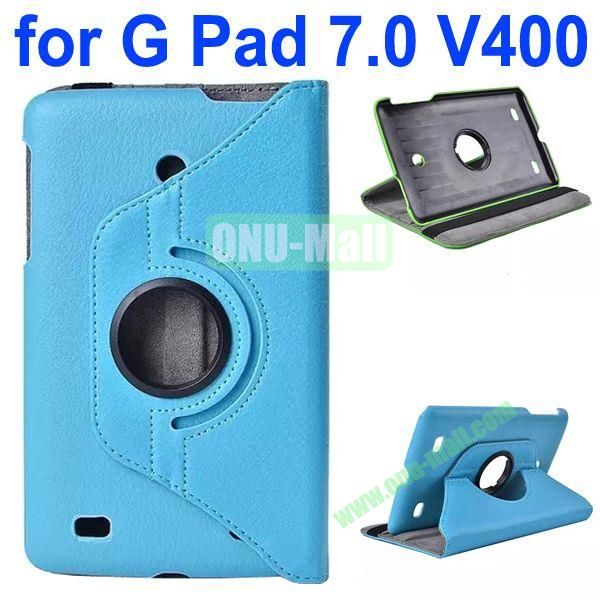 360 Degree Rotating Litchi Texture Flip Stand Leather Case for LG G Pad 7.0 V400 (Blue)