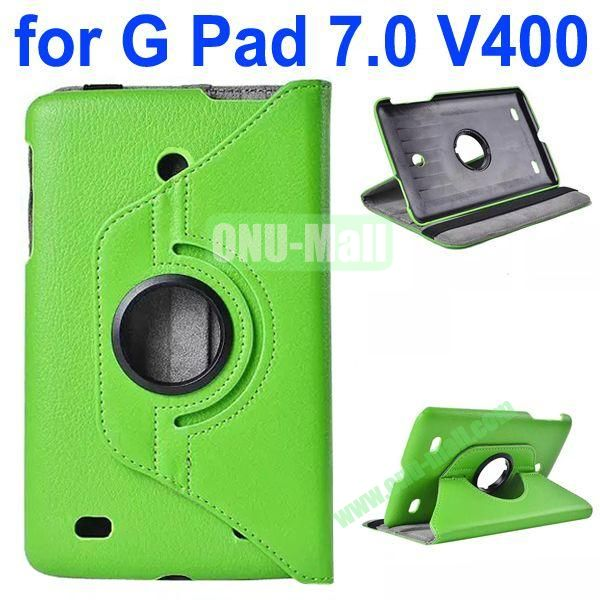 360 Degree Rotating Litchi Texture Flip Stand Leather Case for LG G Pad 7.0 V400 (Green)