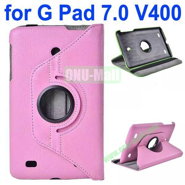360 Degree Rotating Litchi Texture Flip Stand Leather Case for LG G Pad 7.0 V400 (Pink)