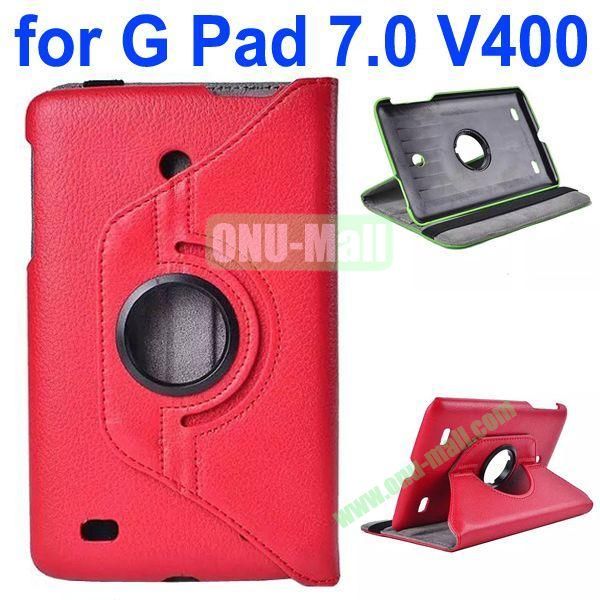 360 Degree Rotating Litchi Texture Flip Stand Leather Case for LG G Pad 7.0 V400 (Red)