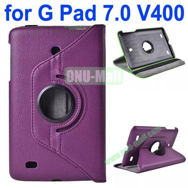 360 Degree Rotating Litchi Texture Flip Stand Leather Case for LG G Pad 7.0 V400 (Purple)