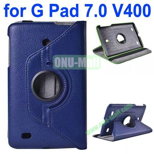 360 Degree Rotating Litchi Texture Flip Stand Leather Case for LG G Pad 7.0 V400 (Dark Blue)