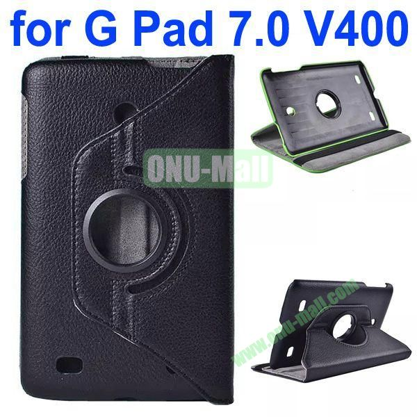 360 Degree Rotating Litchi Texture Flip Stand Leather Case for LG G Pad 7.0 V400 (Black)
