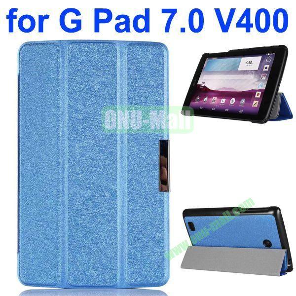 3-folding Fashion Ultrathin Leather Case for LG G Pad 7.0 V400 (Blue)