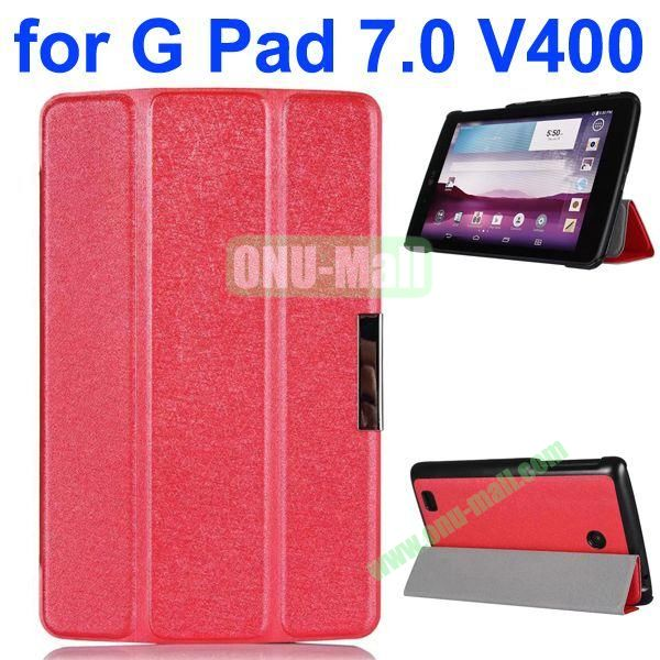 3-folding Fashion Ultrathin Leather Case for LG G Pad 7.0 V400 (Red)