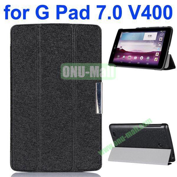 3-folding Fashion Ultrathin Leather Case for LG G Pad 7.0 V400 (Black)