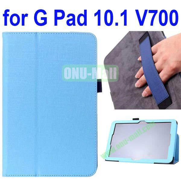 Woven Texture Flip Stand Leather Case for LG G Pad 10.1 V700 with Armband Belt (Blue)