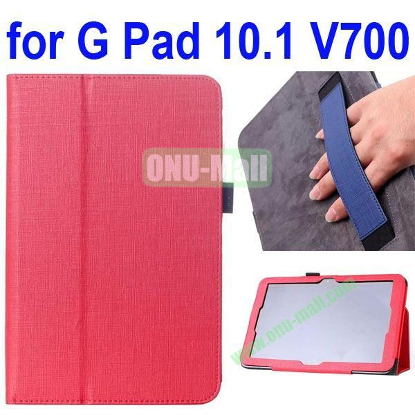 Woven Texture Flip Stand Leather Case for LG G Pad 10.1 V700 with Armband Belt (Red)