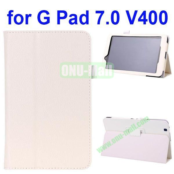 Litchi Texture Flip Leather Case for LG G Pad 7.0 V400 (White)