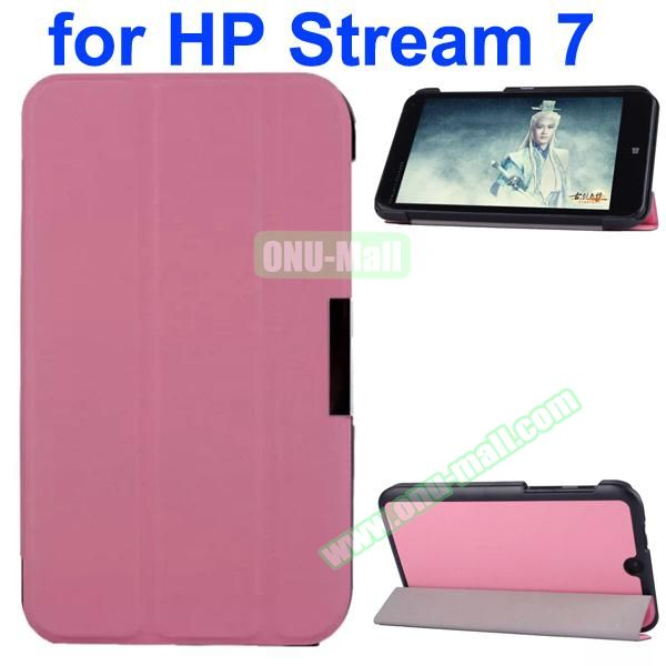 Karst Texture 3 Folding Pattern Magnetic Flip Leather Case for HP Stream 7 with PC Back Cover (Pink)