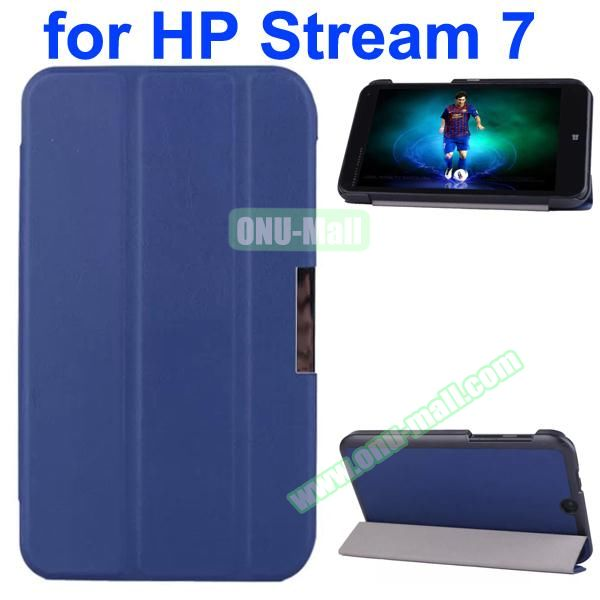 Karst Texture 3 Folding Pattern Magnetic Flip Leather Case for HP Stream 7 with PC Back Cover (Dark Blue)