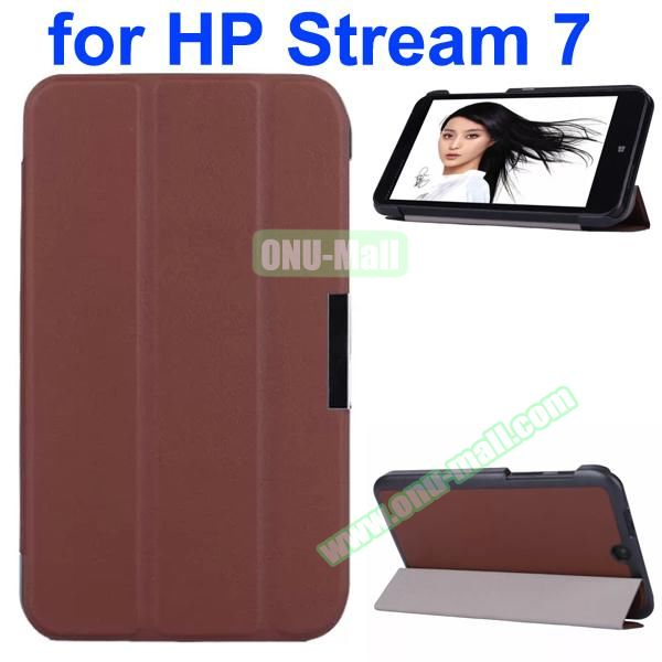 Karst Texture 3 Folding Pattern Magnetic Flip Leather Case for HP Stream 7 with PC Back Cover (Brown)