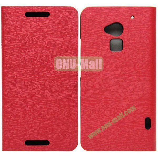 Wood Texture Leather Case with Stand and Card Slots for HTC One MaxT6809D (Red)
