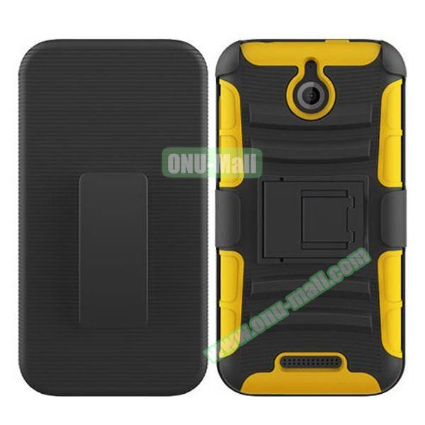 Kickstand Heavy Duty Hybrid PC and Silicone Rugged Protective Case for HTC Desire 510 (Lime)