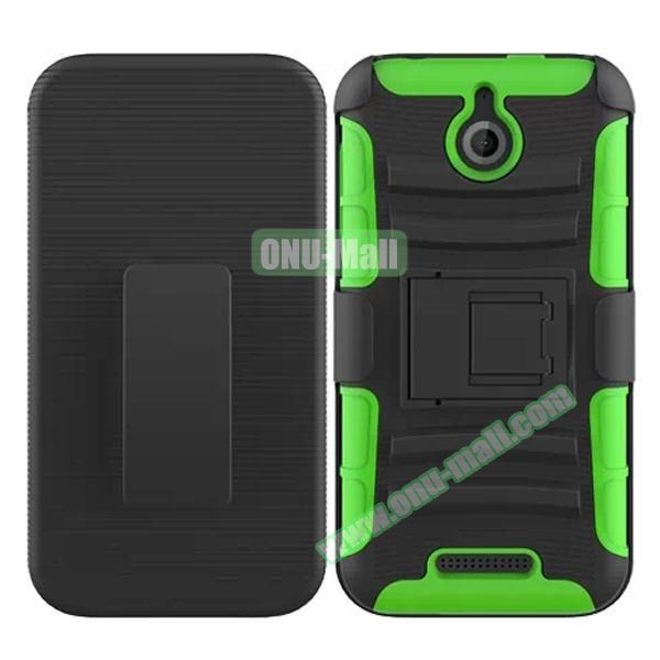 Kickstand Heavy Duty Hybrid PC and Silicone Rugged Protective Case for HTC Desire 510 (Green)
