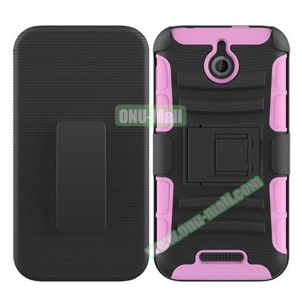 Kickstand Heavy Duty Hybrid PC and Silicone Rugged Protective Case for HTC Desire 510 (Pink)