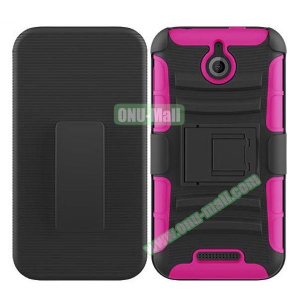 Kickstand Heavy Duty Hybrid PC and Silicone Rugged Protective Case for HTC Desire 510 (Rose)