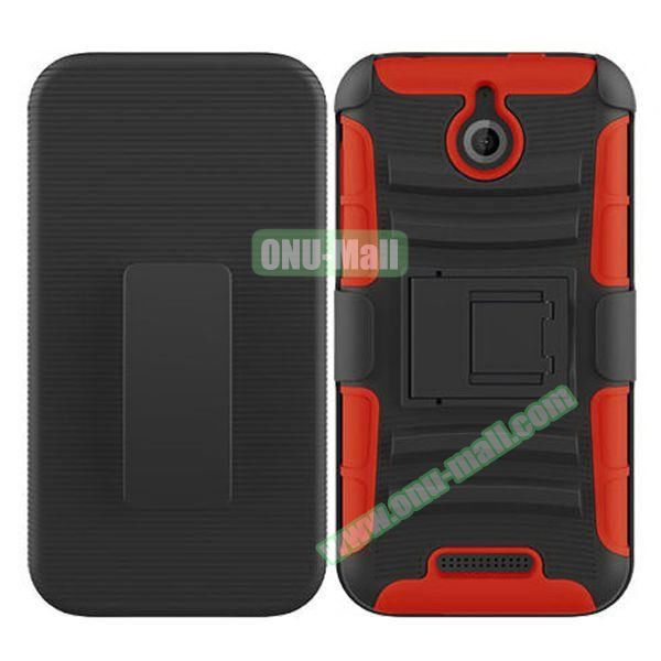 Kickstand Heavy Duty Hybrid PC and Silicone Rugged Protective Case for HTC Desire 510 (Red)