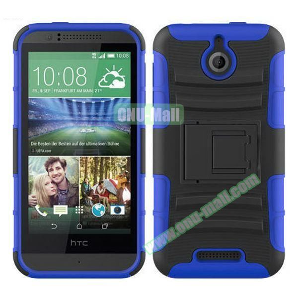 Kickstand Heavy Duty Hybrid PC and Silicone Rugged Protective Case for HTC Desire 510 (Dark Blue)