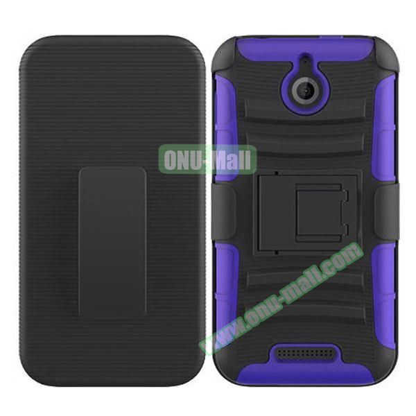Kickstand Heavy Duty Hybrid PC and Silicone Rugged Protective Case for HTC Desire 510 (Purple)