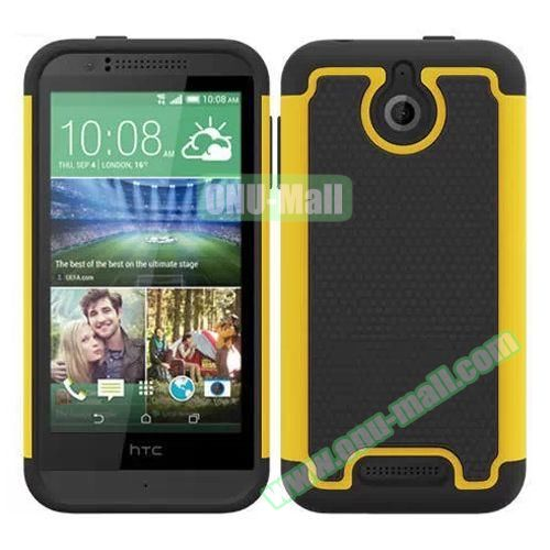 Football Pattern Hybrid PC and Silicone Rugged Protective Case for HTC Desire 510 (Lime)