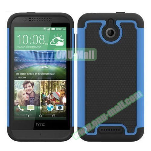 Football Pattern Hybrid PC and Silicone Rugged Protective Case for HTC Desire 510 (Light Blue)