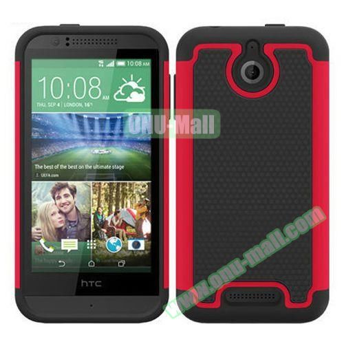 Football Pattern Hybrid PC and Silicone Rugged Protective Case for HTC Desire 510 (Red)