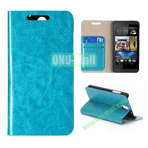 Crystal Texture Wallet Style PU Leather Case for HTC Desire 610 (Blue)