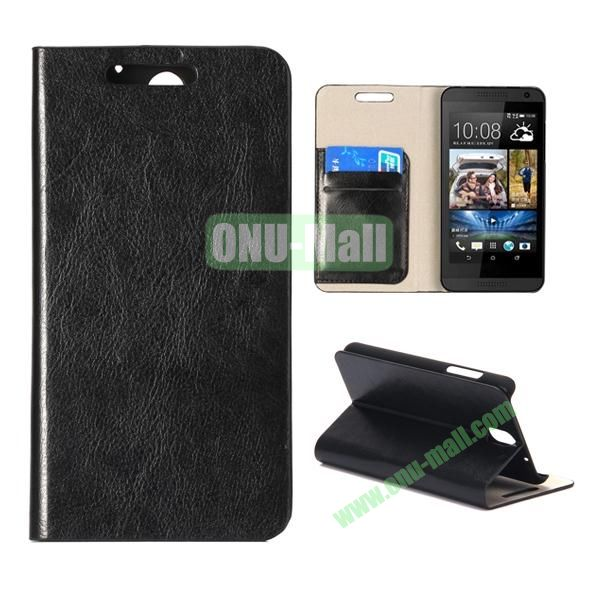 Crystal Texture Wallet Style PU Leather Case for HTC Desire 610 (Black)