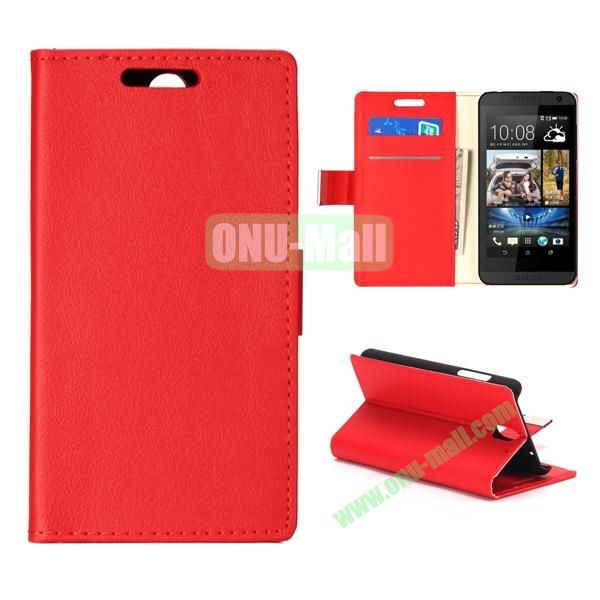 Wallet Style Foldable PU Leather Case for HTC Desire 610 (Red)