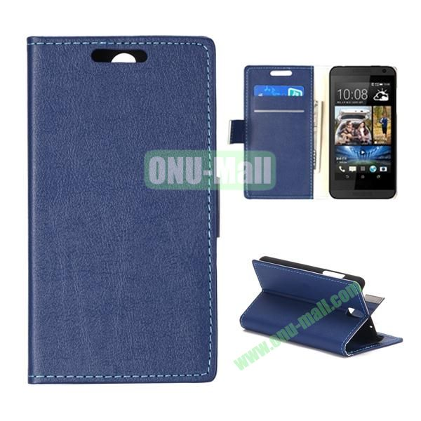 Wallet Style Foldable PU Leather Case for HTC Desire 610 (Blue)