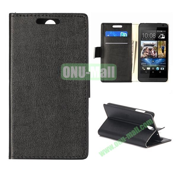 Wallet Style Foldable PU Leather Case for HTC Desire 610 (Black)