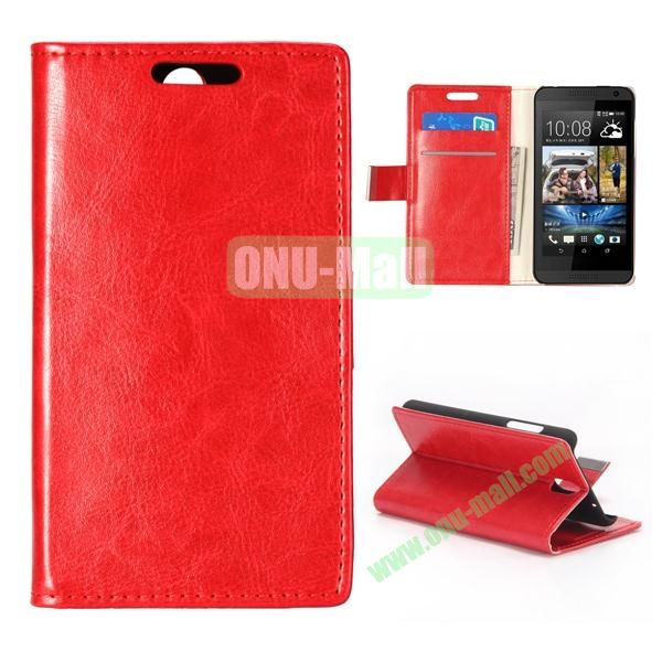Crystal Texture Wallet Style PU Leather Case for HTC Desire 610 (Red)