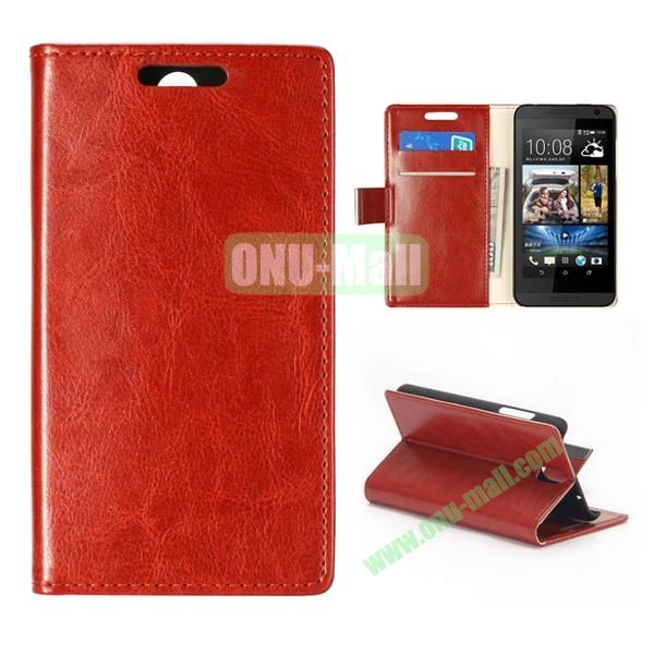 Crystal Texture Wallet Style PU Leather Case for HTC Desire 610 (Brown)