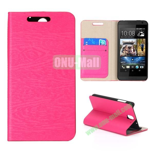 Wood Texture Flip Stand Leather Case for HTC Desire 610 (Rose)