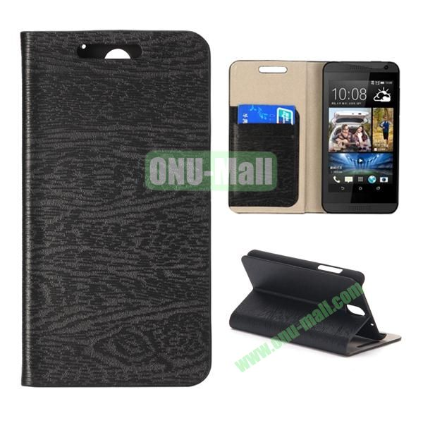 Wood Texture Flip Stand Leather Case for HTC Desire 610 (Black)