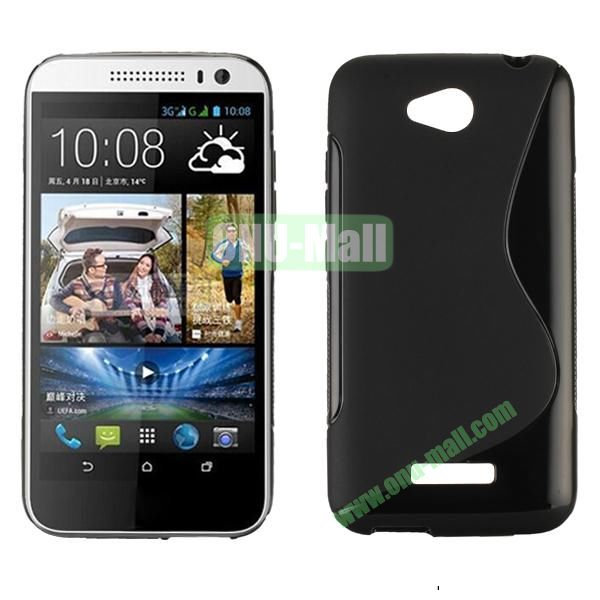 S Shape Design Soft Gel TPU Case for HTC Desire 616 (Black)