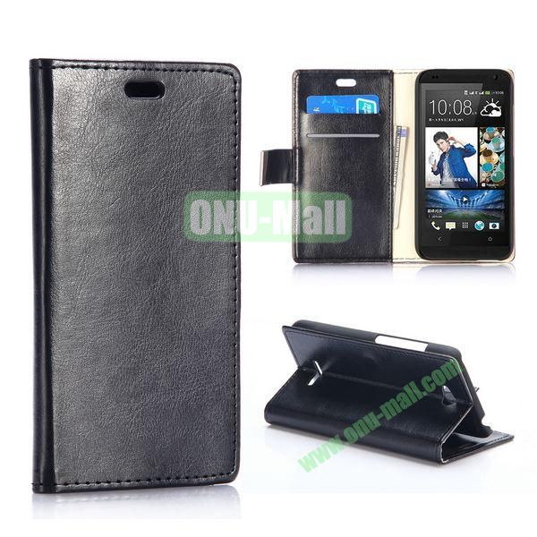 Crazy Horse Texture Wallet Pattern PU Leather Case for HTC Desire 616 with Card Slots (Black)