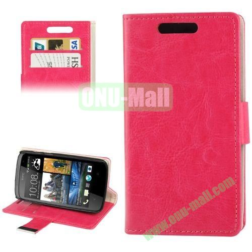 Crazy Horse Texture Leather Case for HTC Desire 500 506E with Credit Card Slot & Holder (Rose)