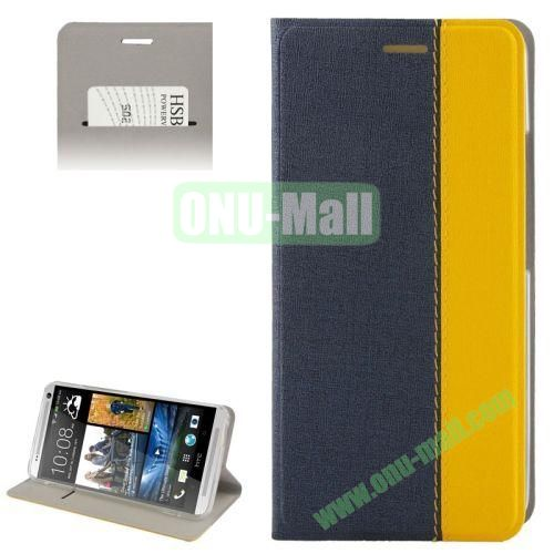 Dual color Oracle Texture Leather Case for HTC One Max  T6  809d with Holder & Credit Card Slot (Dark Blue+Yellow)