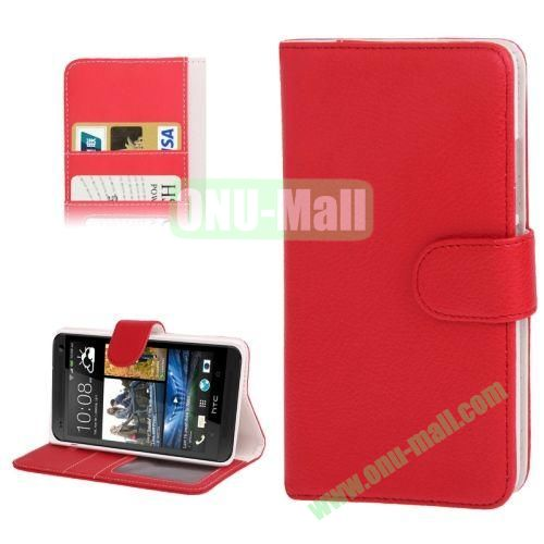 Litchi Texture Leather Case for HTC One MaxT6809d with Credit Card Slot & Holder (Red)