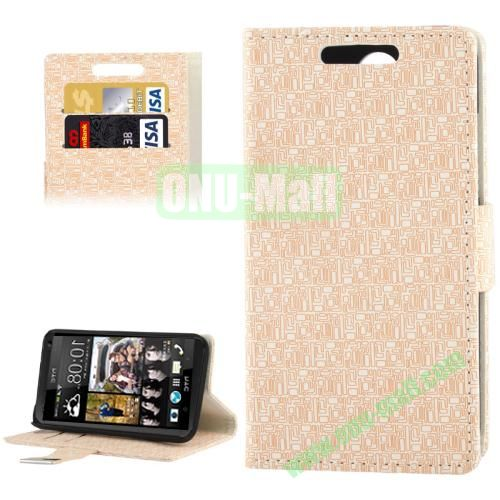 Maze Lattice Texture Leather Cover for HTC Desire 300  Zara mini with Credit Card Slot and Holder(White)