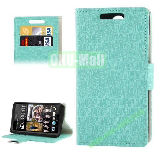 Maze Lattice Texture Leather Cover for HTC Desire 300  Zara mini with Credit Card Slot and Holder(Green)