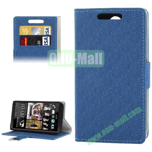 Maze Lattice Texture Leather Cover for HTC Desire 300  Zara mini with Credit Card Slot and Holder(Dark Blue)